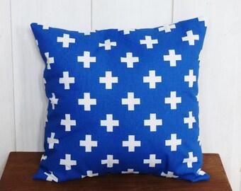 Cushion cover 40 x 40 cm cobalt blue geometric patterns cross