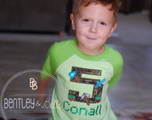 Boys Embroidered Minecraft Birthday Shirt - Minecraft Party - Building Blocks Birthday Shirt