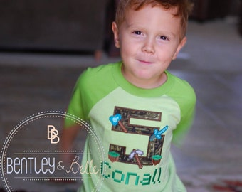 Boys Embroidered Minecraft Birthday Shirt - Minecraft  Inspired Party - Building Blocks Birthday Shirt