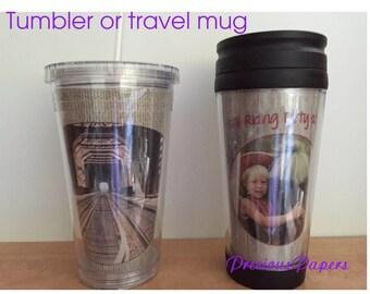Personalized Photo plastic travel mug  Travel mug with picture Mens photo gift