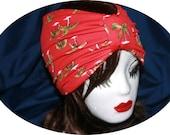 Tropical Red Stretch Wide Turban Headband