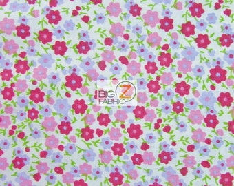 """100% Cotton Fabric Mini Flower - RED - 44/45"""" Width Sold By The Yard"""