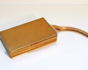 Vintage Evans Goldtone Clutch, Dual Sided Vanity Carryall, Wristlet
