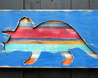Triceratops Dinosaur Shadow Box Style Wall Art - Recycled, Pallet Kids Room Childrens Nursery Wooden Decor Large Gift