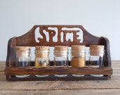 Vintage Spice Rack with Corked Jars