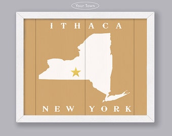 New York State - Custom Town Location - Early American Series - Rustic Home Decor - Handmade personalized NY sign - Housewarming Family gift