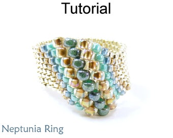 Beading Tutorial Pattern Beaded Ring - Peyote Stitch - Odd Count - Simple Bead Patterns - Neptunia Ring #14810