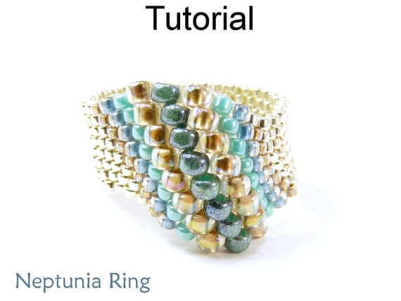 Beaded ring patterns jewelry making tutorials peyote for Simple beaded jewelry patterns