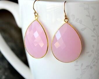 Large Cashmere Rose Drop Earrings, Pink Quartz Dangle Earrings, Pink Linen Gemstone, Milky Pink Bezel, Gold Vermeil