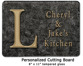 Personalized name glass cutting board fleur de lis kitchen - Tempered glass cutting board personalized ...