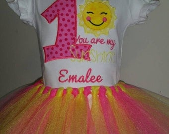 Pink Chevron Sunshine Birthday Outfit