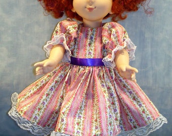 18 Inch Doll Clothes - Pink and Purple Floral Striped Dress made by Jane Ellen to fit slender 18 inch dolls