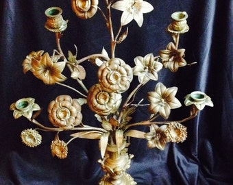 Antique Five Lights Candelabra Form of Flower inside Vase