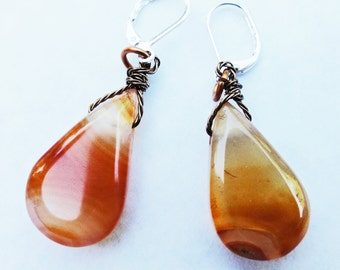 Orange Carnelian Earrings, Gemstone Earrings, Teardrop Earrings, Carnelian Tear Drop Earrings, Orange Earrings, GemstoneJewelrybyVal