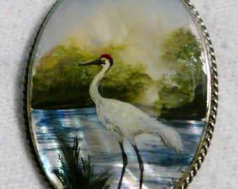 FREE SHIPPING VINTAGE Sand Hill Crane Brooch