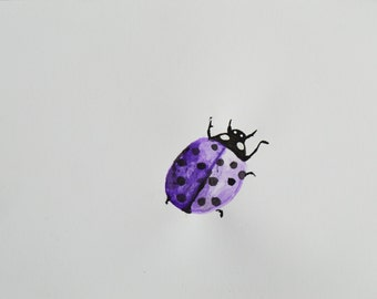 Purple Ladybug Ink Painting, 8.5 x 11 in.