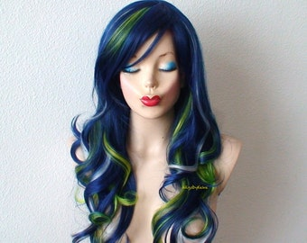 Blue wig. Navy blue / green / silver color Long curly hairstyle wig. Durable heat friendly synthetic wig for daily use or Cosplay.