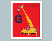Kid's Construction Crane Art Print Personalized With Child's Name Young Boy's Room Decor Playroom Wall Art Home  Decor Gift For Young Boy