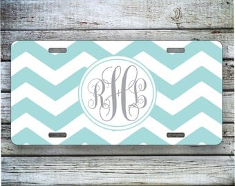 Monogram Car Tag , Car Tag, Light Blue Chevron with Gray Monogram, Custom Car Tag, Chevron Monogram, Front License Plate, Christmas Gift