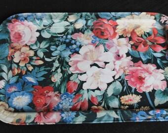 pair metal floral pattern trays