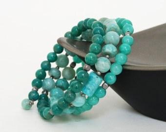 Premium Amazonite Gemstone Memory Wire Bracelet - Aqua, Blue Green Stone Bracelet