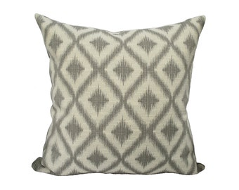 Grey Diamond Ikat Pillow 20""