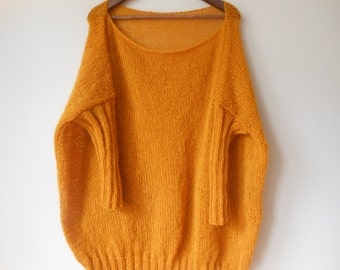 Oversized Plus Size Hand Knit Sweater Tunic Loose Knit Women's Sweater Mustard Yellow