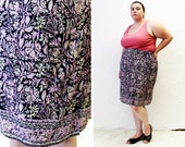 Plus Size - Vintage Printed Crepe Faux Sarong Skirt (Size 24)