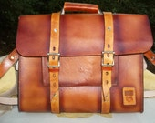 Leather Messenger Bag/Satchel/Brief Case, Hand Made in the USA, Hand Stitched