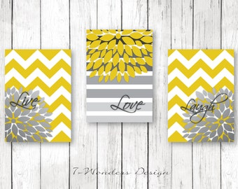 Home Decor Wall Art Live, Love, Laugh with Chevrons and Flower Bursts Art Prints // Mustard and Grey Blend // Set of (3) 5x7 OR 8x10