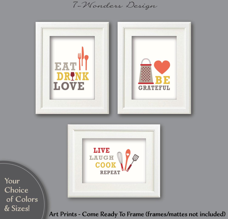 Modern Kitchen Art Prints Eat Drink Love Be Grateful Live