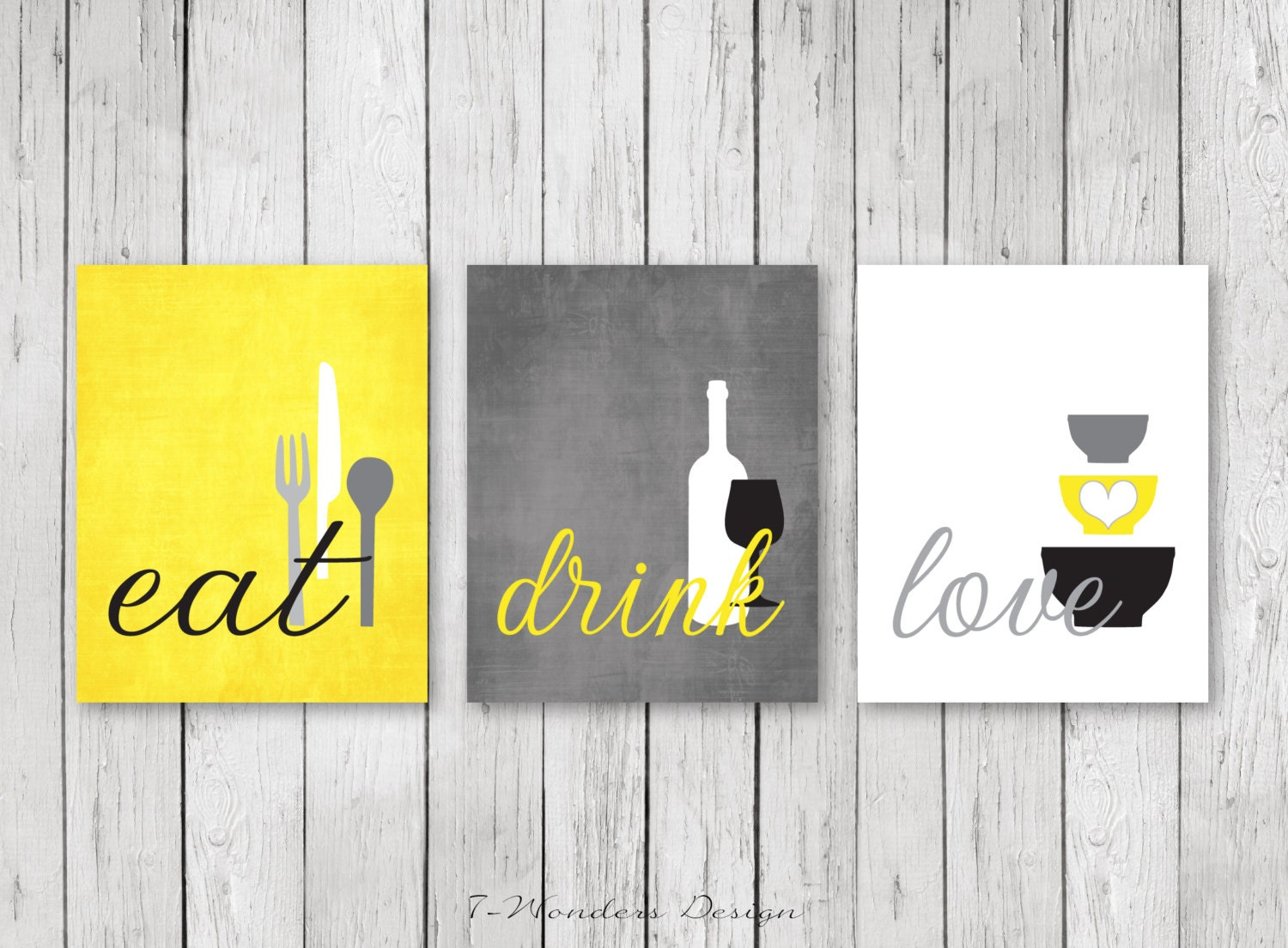 Kitchen wall art print set eat drink love by 7wondersdesign for Black kitchen wall decor