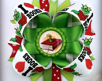 Bookworm I love books stacked layered hair bow