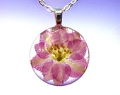 Pink Real Pressed Larkspur Glass Round Pendant Necklace