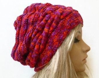 Sale Cabled Knit Slouchy Beanie Hat, Women Braided Slouch Beanie Hat, Cabled Knit Red Orange Purple Hat, Vegan Friendly, Clickclackknits