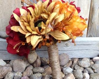 Fall Silk flower wedding bouquet. Silk bouquet. Bridal bouquet. YOUR COLORS. Sunflower. Hydragena.