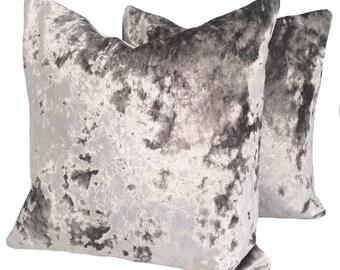 Silver/Grey crushed velvet cushion