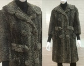 vintage Persian lamb coat // silver gray fur winter coat // 1960s