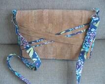 Brown cork blue floral tablet carrier