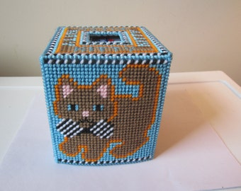 BOWTIE KITTY NEEDLEPOINTED Boutique Tissue Box Cover