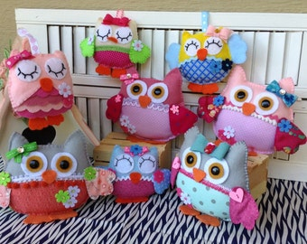 Felt Owl ornaments.