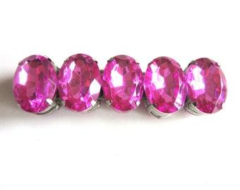 Large Rhinestone Stretch Bracelet Fuchsia Pink Fun Party Bracelet