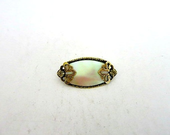 Antique Vintage Mother of Pearl Rhinestone Brooch Gold Wash