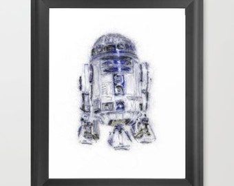 R2D2 INSTANT DOWNLOAD, Star Wars digital art print, children decor, star wars nursery, christmas gift ideas, birthday, father's day