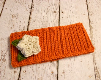 Crochet Ribbed Earwarmer With Flower- 12 Months to Adult