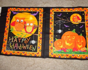 2 Halloween/Harvest Owl Panels
