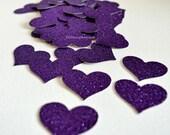 Glitter Confetti, Dark Purple Glitter Confetti Hearts, Glitter Wedding Decor or Party Cut Out Glitter Hearts, Table Scatter, Confetti 50 Pcs
