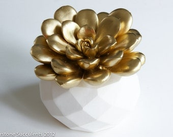 Large Gold Succulent Sculpture with Interchangeable Planter, Tabletop, Desktop Accessory, Modern Minimalist Home and Office Decor