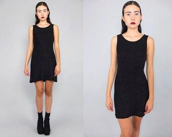 Vtg 90s Black Metallic Iridescent Sparkle Glitter Mini Dress S M