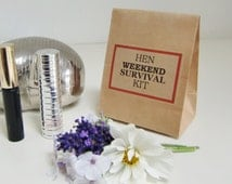 Hen Party Favor Bags-Hen Weekend Survival Kit-Kraft Favor Bags-Hen Party Favors-Various Qtys-Hen Party Favours-Wedding-Favor Bags